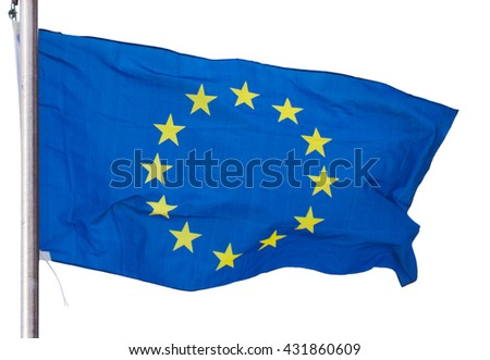 waving european union flag isolated on the white background - stock photo