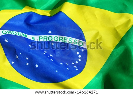 Waving Fabric Brazil Flag - stock photo