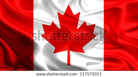Waving Fabric Flag of Canada - stock photo