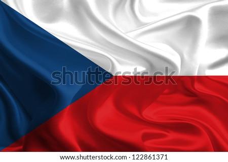 Waving Fabric Flag of Czech Republic - stock photo