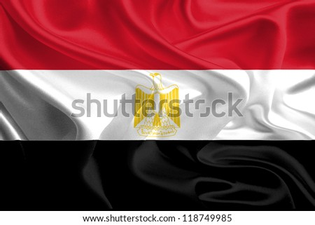 Waving Fabric Flag of Egypt - stock photo