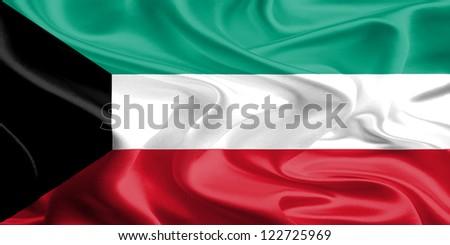 Waving Fabric Flag of Kuwait - stock photo