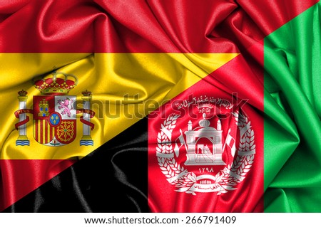 Waving flag of Afghanistan and Spain - stock photo
