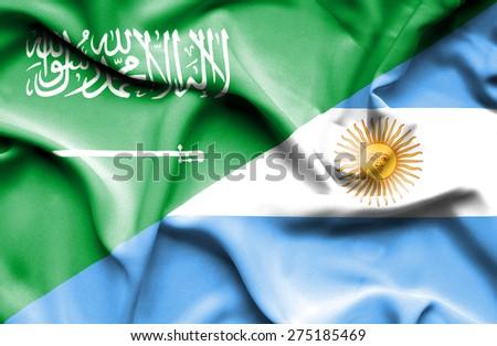 Waving flag of Argentina and Saudi Arabia - stock photo