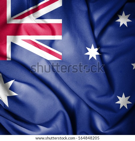 Waving Flag of Australia - stock photo