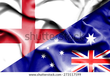 Waving flag of Australia and England