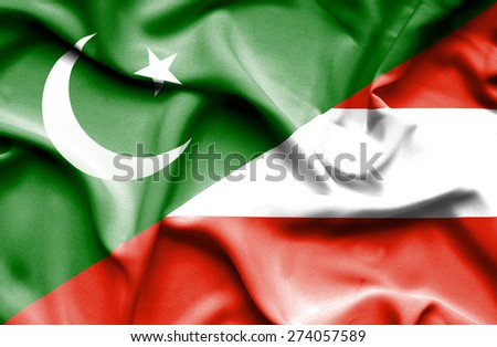 Waving flag of Austria and Pakistan