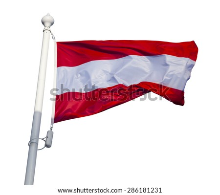 Waving flag of Austria isolated on white background with clipping path - stock photo