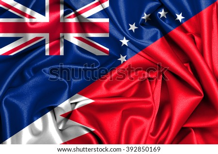 Waving flag of Bahrain and Cook Islands