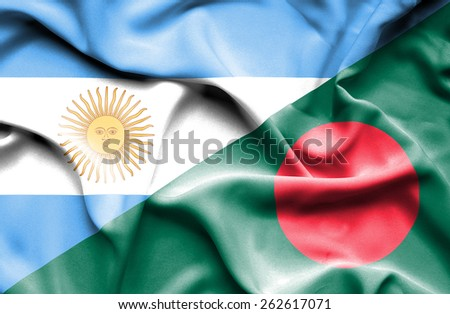 Waving flag of Bangladesh and Argentina  - stock photo
