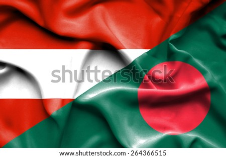 Waving flag of Bangladesh and Austria  - stock photo