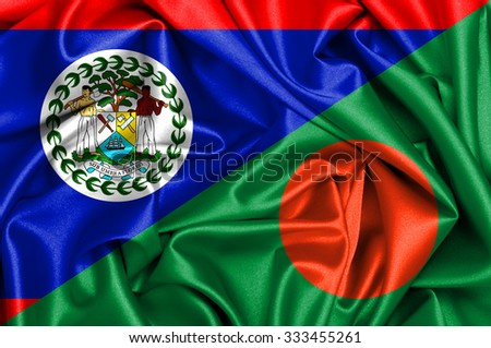 Waving flag of Bangladesh and Belize - stock photo