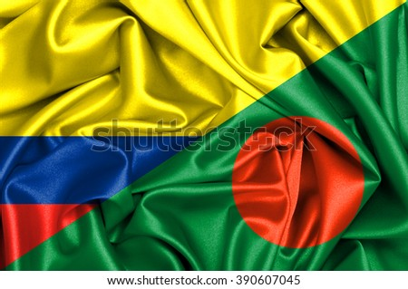 Waving flag of Bangladesh and Colombia - stock photo