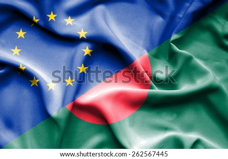 Waving flag of Bangladesh and  European Union - stock photo