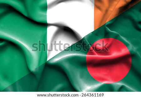 Waving flag of Bangladesh and Ireland  - stock photo