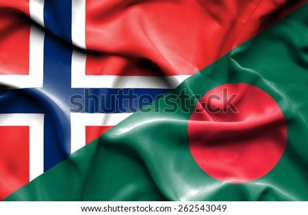 Waving flag of Bangladesh and Norway - stock photo