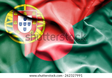 Waving flag of Bangladesh and Portugal - stock photo