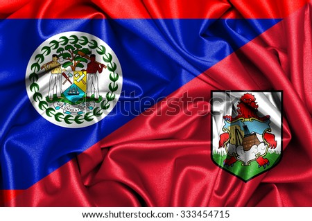 Waving flag of Bermuda and Belize