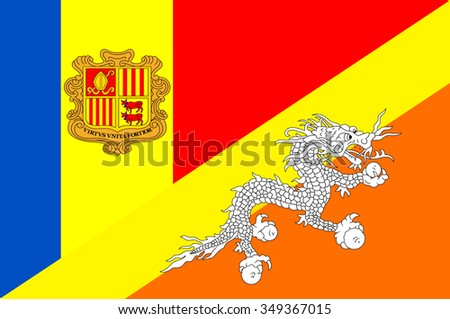 Waving flag of Bhutan and Andora