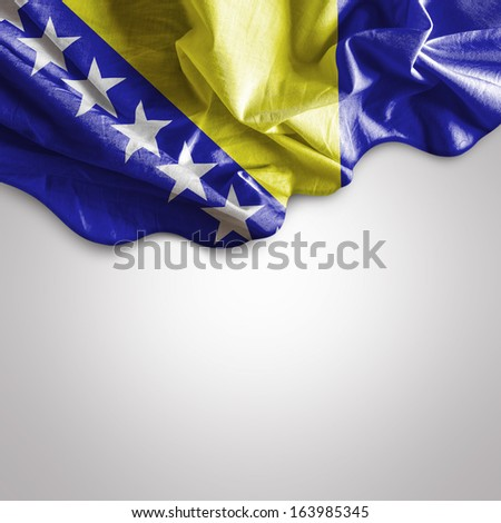 Waving Flag of Bosnia and Herzegovina - stock photo