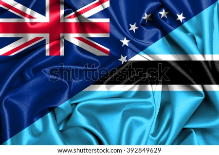 Waving flag of Botswana and Cook Islands