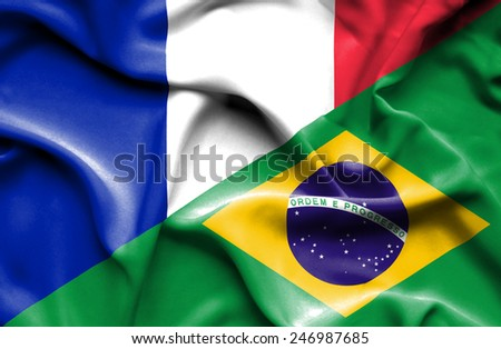 Waving flag of Brazil and France - stock photo