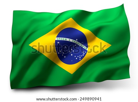 Waving flag of Brazil isolated on white background