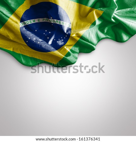 Waving flag of Brazil, South America - stock photo