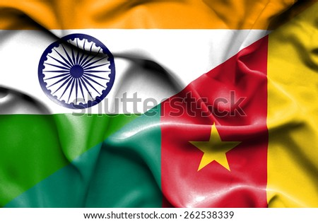 Waving flag of Cameroon and India