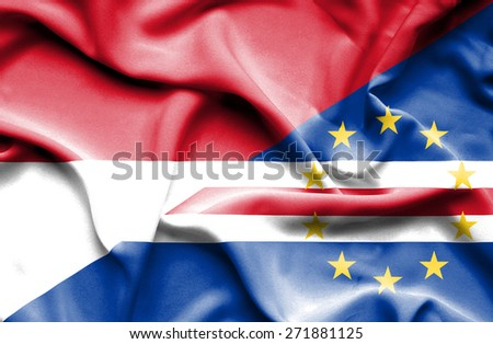 Waving flag of Cape Verde and Monaco