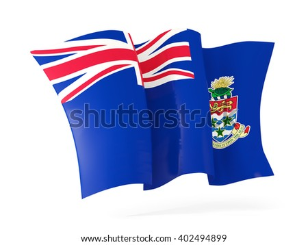 Waving flag of cayman islands isolated on white. 3D illustration - stock photo