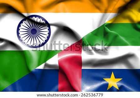 Waving flag of Central African Republic and India
