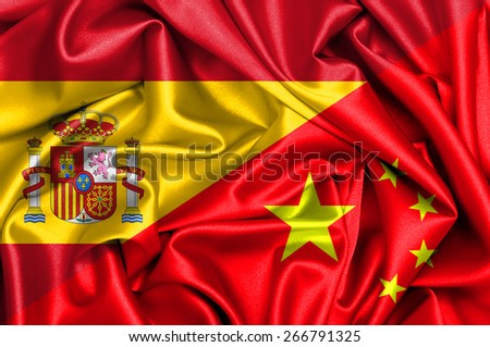 Waving flag of China and Spain - stock photo