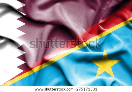 Waving flag of Congo Democratic Republic and Qatar