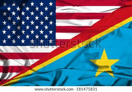 Waving flag of Congo Democratic Republic and USA - stock photo