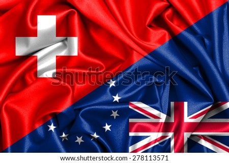 Waving flag of Cook Islands and Switzerland