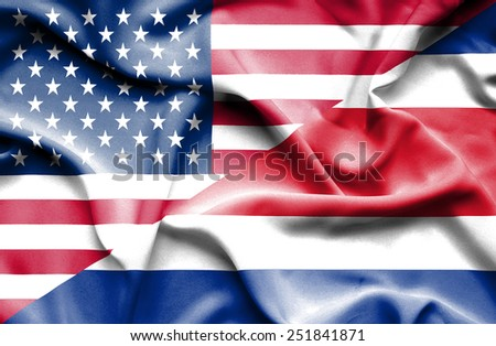 Waving flag of Costa Rica and USA