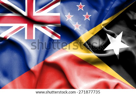 Waving flag of East Timor and New Zealand