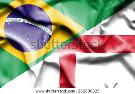 Waving flag of England and Brazil - stock photo