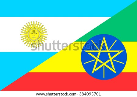 Waving flag of Ethiopia and Argentina
