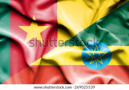 Waving flag of Ethiopia and Cameroon - stock photo