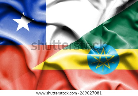 Waving flag of Ethiopia and Chile - stock photo