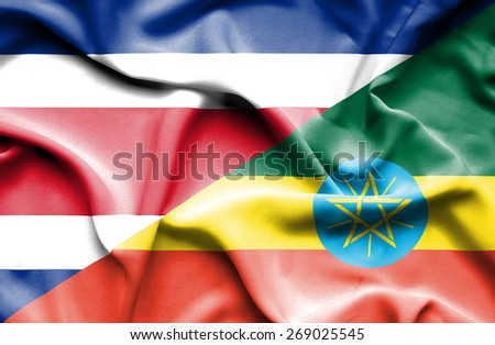 Waving flag of Ethiopia and Costa Rica - stock photo