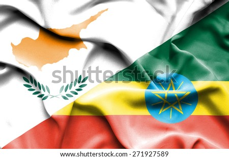 Waving flag of Ethiopia and Cyprus - stock photo
