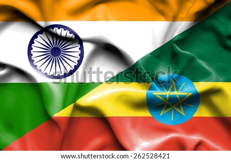 Waving flag of Ethiopia and India - stock photo
