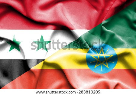 Waving flag of Ethiopia and Syria