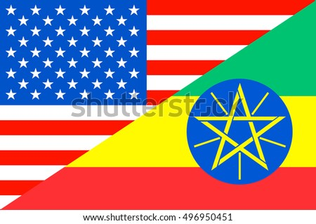 Waving flag of Ethiopia and USA