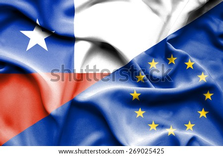 Waving flag of European Union and Chile