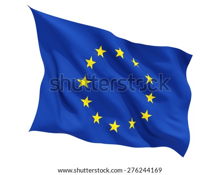 Waving flag of european union isolated on white - stock photo