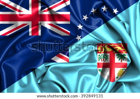 Waving flag of Fiji and Cook Islands